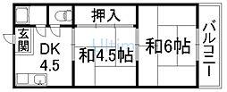 京都府京都市下京区七条御所ノ内西町の賃貸アパートの間取り
