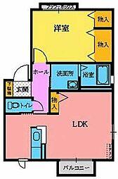 宮城県仙台市若林区沖野1丁目の賃貸アパートの間取り