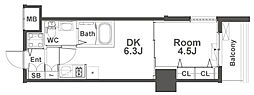 ルフォンプログレ本町WEST 11階1DKの間取り