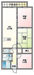 大阪府寝屋川市明徳2丁目の賃貸アパートの間取り