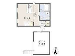 (仮)プリマ別所壱番館 2階ワンルームの間取り