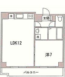 ココグランズマルビシ 4階1LDKの間取り