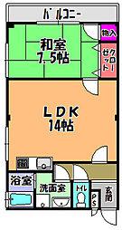 西板持3 3階1LDKの間取り