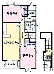 愛知県名古屋市名東区牧の原2丁目の賃貸アパートの間取り
