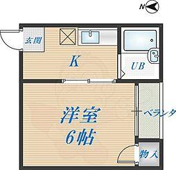 ロフティー1番館 5階1Kの間取り