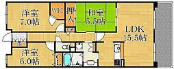 甲子園三番町ハイツ[3階]の間取り