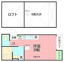 JR東海道本線 平塚駅 徒歩14分の賃貸アパート 2階ワンルームの間取り