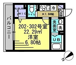 京成本線 京成高砂駅 徒歩5分の賃貸アパート 3階1Kの間取り
