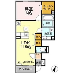 神奈川県相模原市南区上鶴間本町9丁目の賃貸アパートの間取り