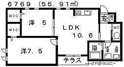 ヘーベルブランカーサII[103号室号室]の間取り