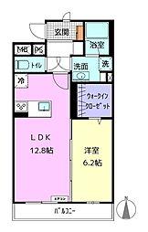 アライブIV 3階1LDKの間取り