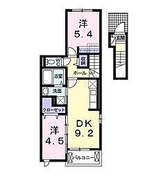 愛知県西尾市徳次町九伝の賃貸アパートの間取り