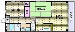 兵庫県神戸市東灘区甲南町5丁目の賃貸マンションの間取り