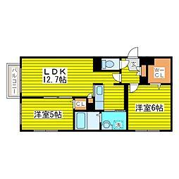 札幌市営東豊線 環状通東駅 徒歩6分の賃貸マンション 4階2LDKの間取り