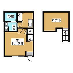 仮称)町田市中町二丁目新築計画 1階1Kの間取り