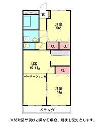 愛知県岩倉市大山寺町の賃貸マンションの間取り
