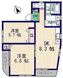 新中野AK HILLS[1階]の間取り
