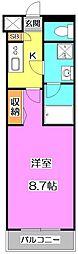 西武池袋線 富士見台駅 徒歩5分の賃貸マンション 1階1Kの間取り