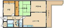 エスポワール恵我之荘[3階]の間取り