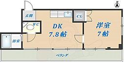 平口マンション 3階1DKの間取り