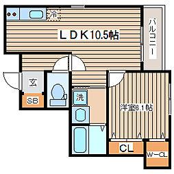 兵庫県神戸市長田区大塚町2丁目の賃貸アパートの間取り