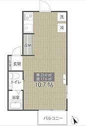東京メトロ有楽町線 江戸川橋駅 徒歩8分の賃貸アパート 2階ワンルームの間取り