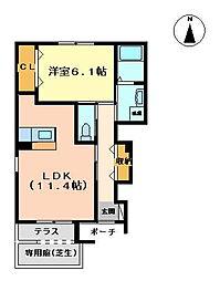ヴァンベール[1階]の間取り