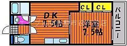 岡山県倉敷市上東丁目なしの賃貸マンションの間取り
