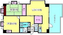 メロディーハイム東帝塚山[9階]の間取り