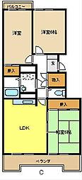 愛知県名古屋市天白区中平1丁目の賃貸マンションの間取り