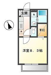 愛知県長久手市岩作南島の賃貸アパートの間取り