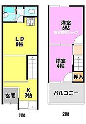 [一戸建] 大阪府大阪市生野区巽東2丁目 の賃貸【/】の間取り
