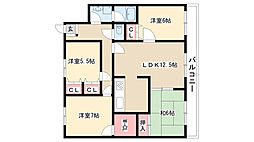 愛知県名古屋市瑞穂区松栄町2丁目の賃貸マンションの間取り