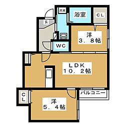 Prescelto西線11条[2階]の間取り