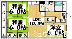 福岡県大野城市上大利2丁目の賃貸マンションの間取り