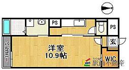 西鉄天神大牟田線 西鉄久留米駅 徒歩10分の賃貸マンション 1階1Kの間取り