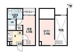 愛知県名古屋市熱田区一番1丁目の賃貸アパートの間取り
