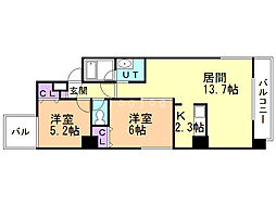 ibiza maruyama 5階2LDKの間取り