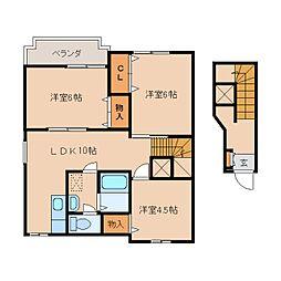奈良県香芝市平野の賃貸アパートの間取り