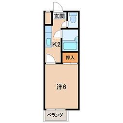 TOSAマンション 2階1Kの間取り