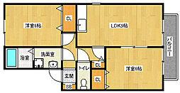 京都府宇治市宇治妙楽の賃貸アパートの間取り