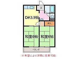 静岡県富士市横割1丁目の賃貸マンションの間取り