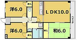 京都府京都市伏見区毛利町の賃貸マンションの間取り