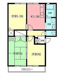 神奈川県小田原市小台の賃貸アパートの間取り
