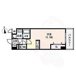 (仮)西大寺南マンション 8階ワンルームの間取り