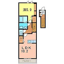 仮)知立市八ツ田町新築アパート[202号室]の間取り