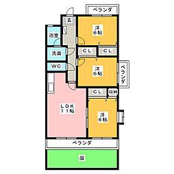 第3みかん山ハイツ[1階]の間取り