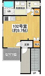 大阪府堺市堺区南半町西2丁の賃貸アパートの間取り