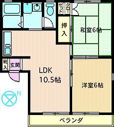 コーポ渋谷V[202号室]の間取り
