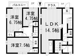 [テラスハウス] 東京都杉並区阿佐谷南3丁目 の賃貸【/】の間取り